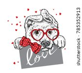 cute dog with hearts  glasses... | Shutterstock .eps vector #785352913