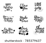set of love label. font with... | Shutterstock .eps vector #785379637