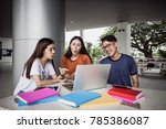 happy group of attractive young ...   Shutterstock . vector #785386087