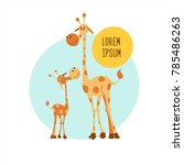 Two Giraffe. Vector...