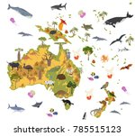 australia and oceania flora and ... | Shutterstock .eps vector #785515123