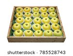 Apples In Wooden Box Isolated...