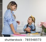 pregnant woman with little... | Shutterstock . vector #785548573