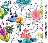 Tropical Flower Pattern In A...