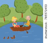 happy senior couple rowing a... | Shutterstock .eps vector #785572453