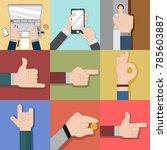 variouse hand gesture vector... | Shutterstock .eps vector #785603887