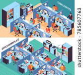 two open space isometric...   Shutterstock . vector #785607763
