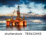 hdr of offshore drilling rig at ... | Shutterstock . vector #785612443
