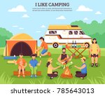 camping and hiking composition... | Shutterstock . vector #785643013