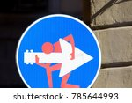 road sign with a man playing... | Shutterstock . vector #785644993