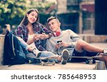 teenager and his girlfriend... | Shutterstock . vector #785648953