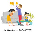 young caucasian white family... | Shutterstock .eps vector #785660737