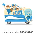 bus full of cheerful caucasian... | Shutterstock .eps vector #785660743