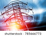 pylon. concept of electricity... | Shutterstock . vector #785666773