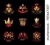 royal symbols  flowers  floral... | Shutterstock .eps vector #785667307