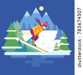 cartoon downhill skier in the... | Shutterstock .eps vector #785674507