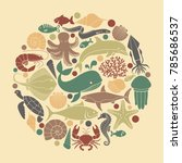 silhouettes of sea inhabitants. ... | Shutterstock .eps vector #785686537