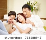 asian mother father and son... | Shutterstock . vector #785688943
