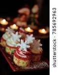 Small photo of Festive holiday cupcakes beautify arranged on a plate.