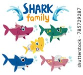 Family Shark Set Of Colorful...