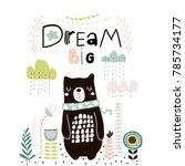 dream big lettering. cute... | Shutterstock .eps vector #785734177
