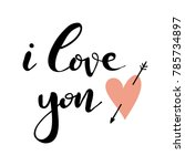 hand drawn card with heart and... | Shutterstock .eps vector #785734897