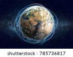 blockchain technology. global... | Shutterstock . vector #785736817