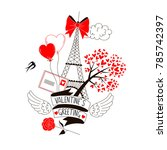 valentine greetings postcard | Shutterstock .eps vector #785742397