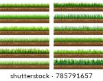 set of green grass with a... | Shutterstock .eps vector #785791657