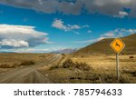 a guanaco sign on the road from ... | Shutterstock . vector #785794633