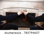 male hands with drinks in... | Shutterstock . vector #785794657