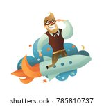 colored startup man composition ... | Shutterstock . vector #785810737