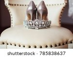 silver crown and bridal shoes   Shutterstock . vector #785838637
