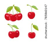 ripe cherries on a white... | Shutterstock .eps vector #785860147