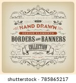 vintage calligraphy banner with ... | Shutterstock .eps vector #785865217