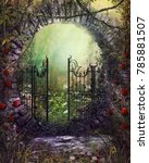Stock photo  d render illustration of an magical old gate with ivy and flowers leading to an enchanting garden 785881507