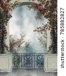 fantasy arch with a balcony and ... | Shutterstock . vector #785882827