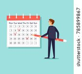 calendar  businessman notes the ... | Shutterstock .eps vector #785899867