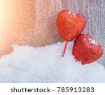 bright red hearts. in white... | Shutterstock . vector #785913283
