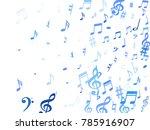blue flying musical notes... | Shutterstock .eps vector #785916907