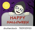 scary ghost and tombstone with... | Shutterstock .eps vector #785935933