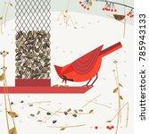 cute red northern cardinal bird ... | Shutterstock .eps vector #785943133