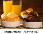 mixed brazilian snack on the... | Shutterstock . vector #785945407