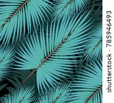 tropical palm leaves  jungle... | Shutterstock .eps vector #785946493
