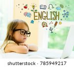 english text with little girl... | Shutterstock . vector #785949217
