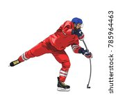 ice hockey player in red jersey ... | Shutterstock .eps vector #785964463