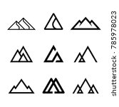Mountains, rocks and peaks. Vector illustration and logo design elements
