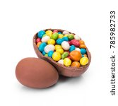 easter chocolate egg with... | Shutterstock . vector #785982733