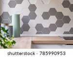 Kitchen With Grey And White...
