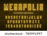 megapolis neon light alphabet ... | Shutterstock .eps vector #785991997